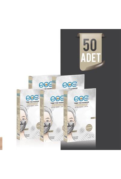 Eos Medical Tip Iır Meltblown Filtreli 3 Katlı Siyah Tıbbi Yüz Maskesi - 50 Adet