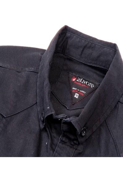Xinox Siyah Renk Çift Cep Erkek Gabardin Gömlek