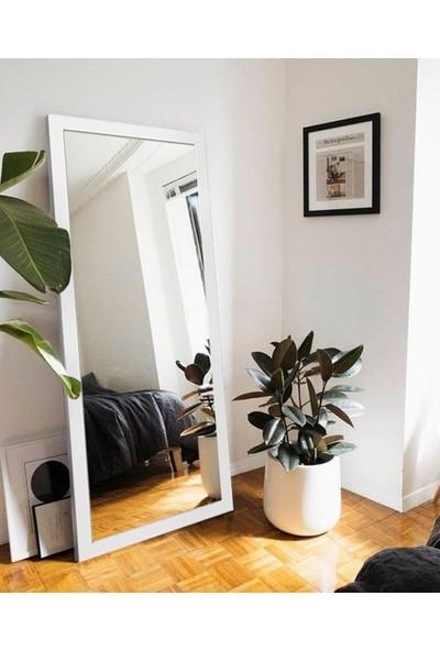 Hüma's 150 x 58 cm Beyaz Ahşap Dekoratif Retro Boy ve Duvar Aynası