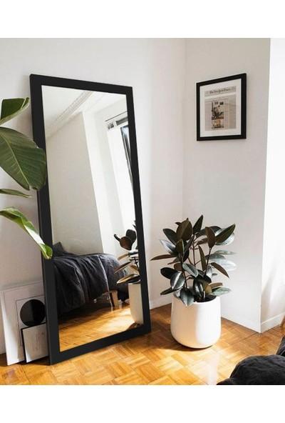 Hüma's 150 x 58 cm Siyah Ahşap Dekoratif Retro Boy ve Duvar Aynası