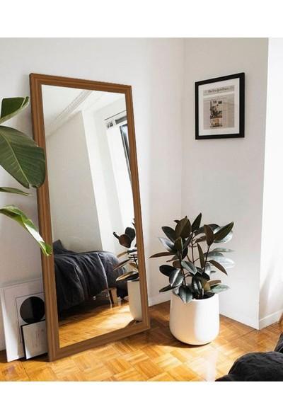 Hüma's 150 x 58 cm Teak Rengi Ahşap Dekoratif Retro Boy ve Duvar Aynası