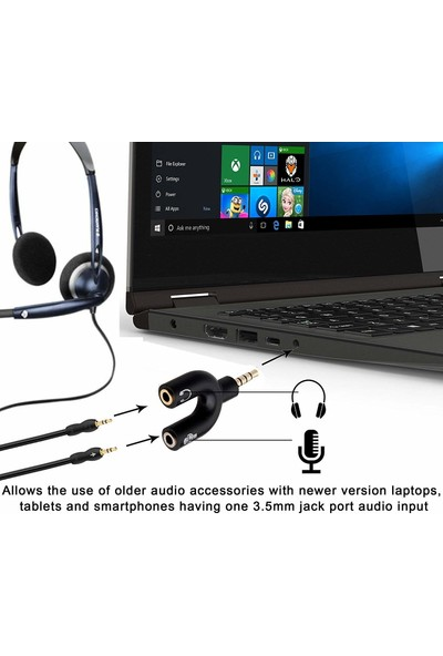 Alfais 4456 Kulaklık Mikrofon Ayırıcı Çoklayıcı 3.5mm Switch Splitter Adaptör