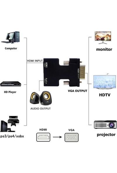 Alfais 4499 Ses Destekli HDMI To VGA Dönüştürücü Adaptör