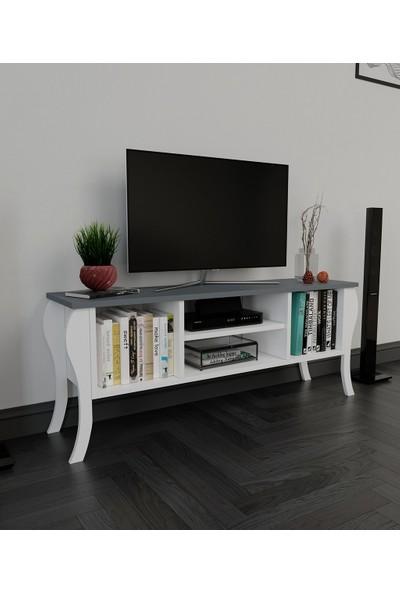 PlatinReyon Modern Lukens Ayaklı Kapaksız Tv Ünitesi 120CM Televizyon Sehpası Antrasit