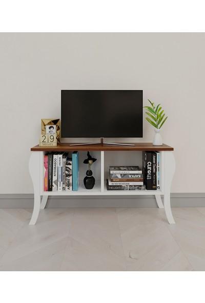 PlatinReyon Modern Lukens Ayaklı Kapaksız Tv Ünitesi 90CM Televizyon Sehpası Ceviz