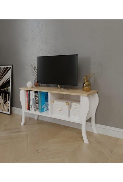 PlatinReyon Modern Lukens Ayaklı Kapaksız Tv Ünitesi 90CM Televizyon Sehpası Meşe