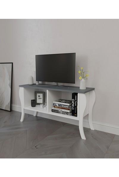 PlatinReyon Modern Lukens Ayaklı Kapaksız Tv Ünitesi 90CM Televizyon Sehpası Antrasit