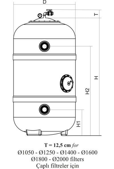 Nozbart Dın Normu Polyester Havuz Kum Filtresi 1600MM