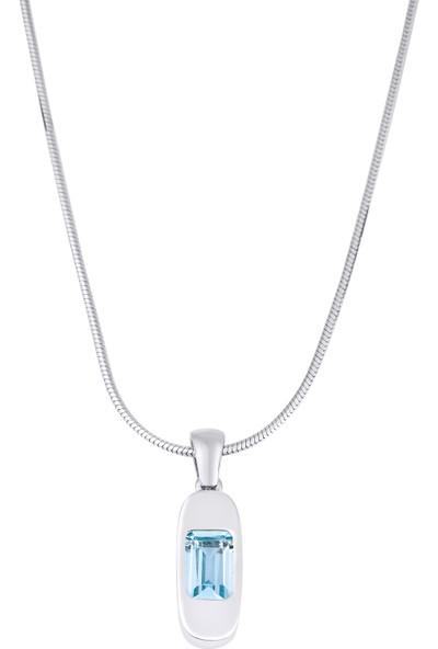 Designbykairos Doğal Mavi(Blue) Topaz Taşlı 925 Ayar Gümüş Kolye