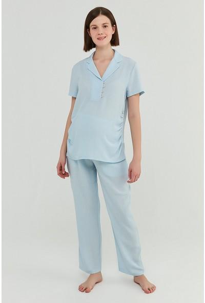 Penti Açık Mavi Mama Blue Crinkle Gömlek Pantolon Takımı