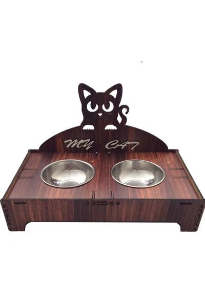 Pratik Dekor Kedi Mama Kabı Ikili Kahve