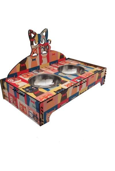 Pratik Dekor Kedi Mama Kabı Ikili Renkli Kedili