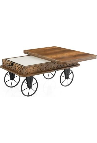 Nasip Akıllı Sehpa, Orta Sehpa, Sihirli Masa, Çalışma Masası, Yer Sofrası, Antik Demir Tekerlekli