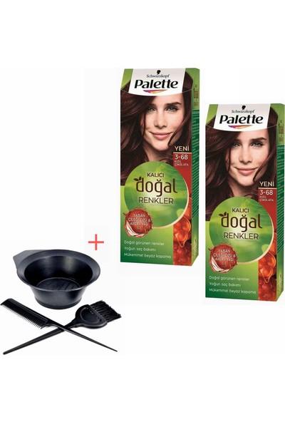 Palette Kalıcı Doğal Renkler 3-68 Kızıl Çikolata x 2 Adet + Boyama Seti