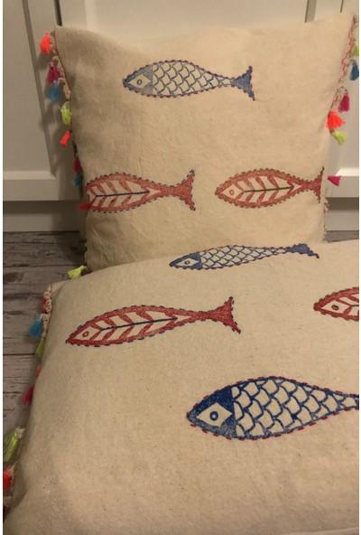 Heybelioda Bodrum Keteni Balık Desen El Boyama Püsküllü Dekoratif Yastık Kırlent Kılıfı
