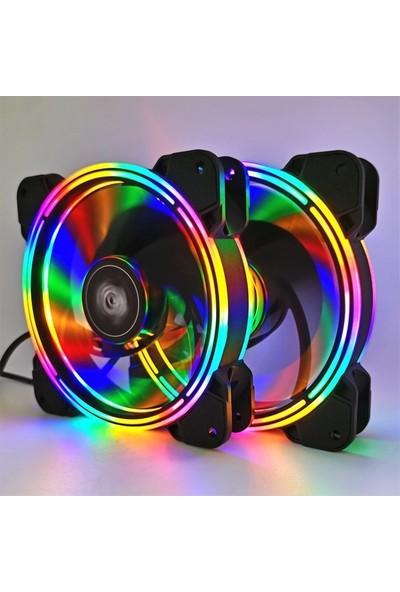 J-Tech Air Rgb 3 Renk Rainbow Gökkuşağı 12CM Kasa Geniş Fan