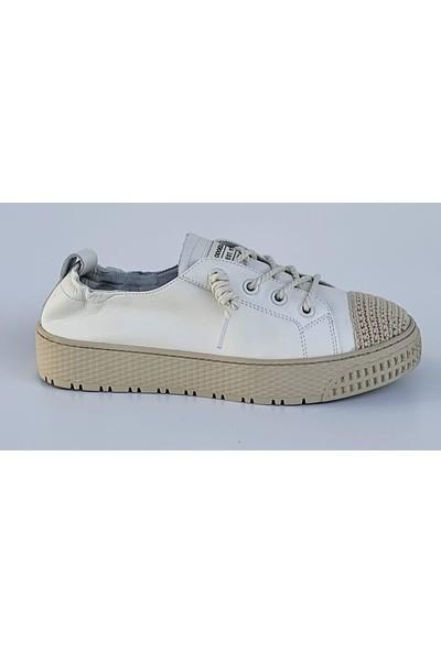 Guja 21Y383 Düz Taban Büzgülü Deri Kadın Sneakers Ayakkabı