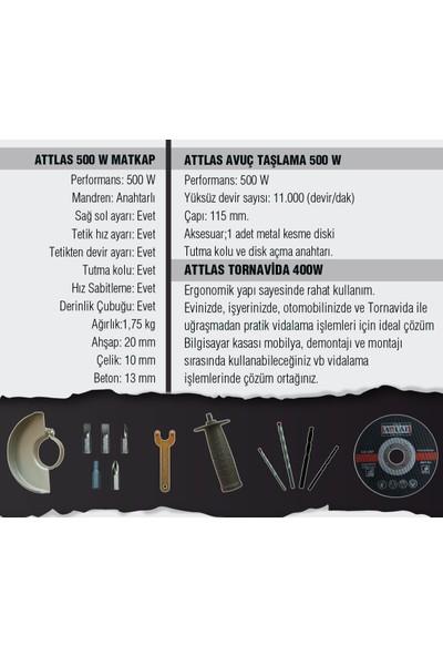 Attlas Eco 3'lü Set- Darbeli Matkap, Akülü Tornavida, Avuç Taşlama