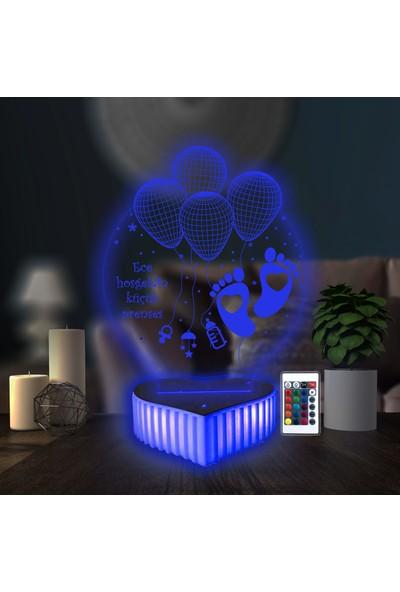 3D Hediye Dünyası Yeni Doğan Bebek Hediyesi 16 Renkli Kumandalı