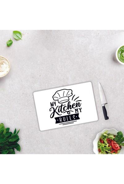 Decorita My Kitchen My Rules | Cam Kesme Tahtası - Cam Kesme Tablası | Beyaz Fon | 20CM x 30CM