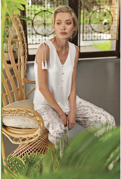 Artış Kadın Desenli Dokuma 3 Lü Sabahlık Pijama Takım 10309 21Y
