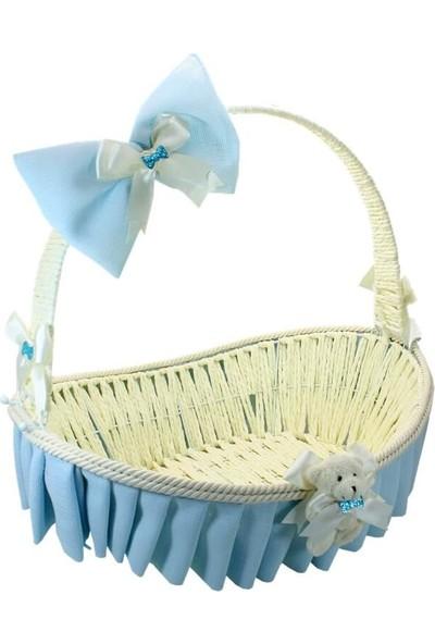 Süsle Bebek Parti Saplı Oval Kumaş Süslü Sepet 41 cm Büyük Boy Mavi