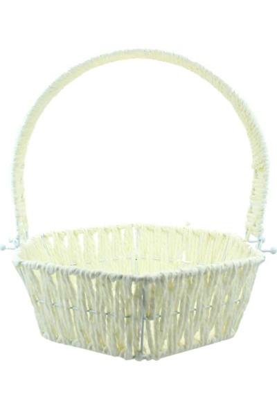 Süsle Bebek Parti Saplı Altıgen Sepet 28 cm Orta Boy