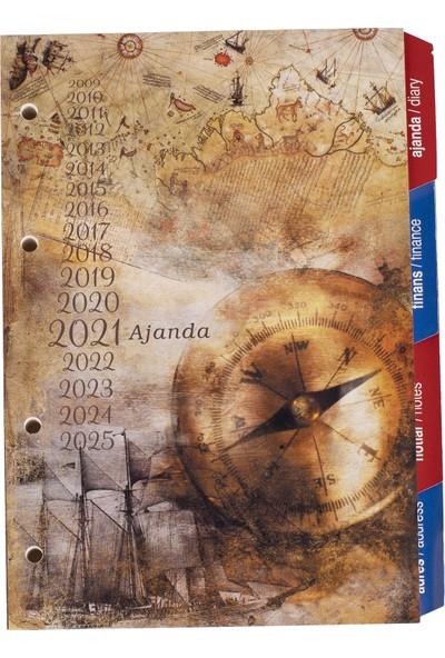 2k 2021 4 Delikli Çizgili Tarihli Organizer Ajanda Yedeği 15 x 21 cm