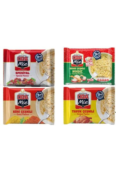 Oba Mie Noodle Hazır Makarna Karma 75 gr x 12 + (5 Adet Çaykur Altın Süzen Poşet Bardak Çay)