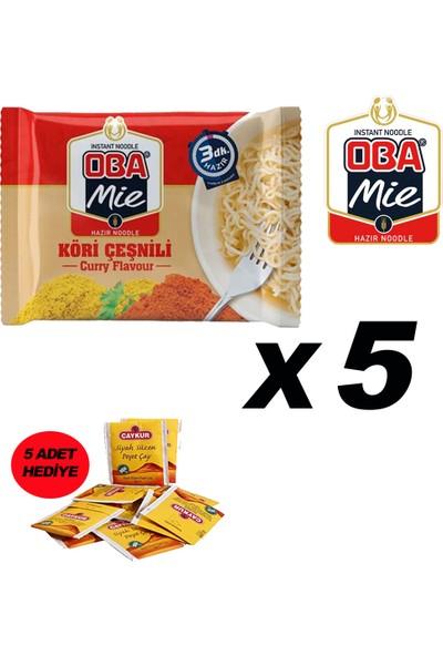 Oba Mie Köri Noodle Hazır Makarna 75 gr x 5 + 5 Adet Çaykur Altın Süzen Poşet Bardak Çay)