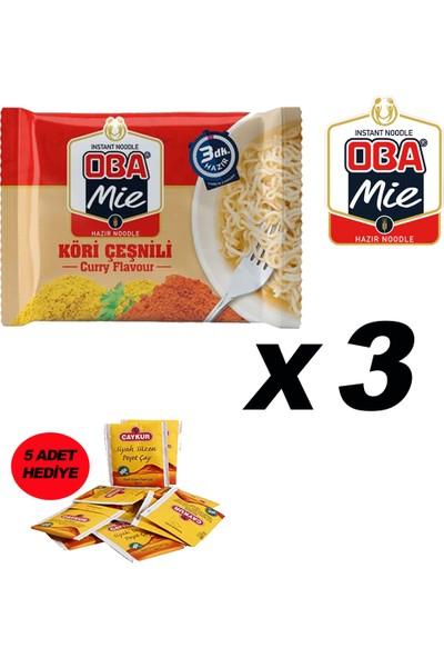 Oba Mie Noodle Köri Hazır Makarna 75 gr x 3 + (5 Adet Çaykur Altın Süzen Poşet Bardak Çay)