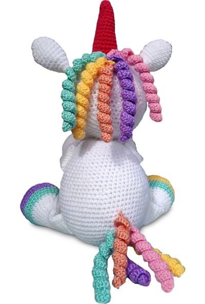 Binbir Trend El Örgüsü Şapşik Unicorn Amigurumi Oyuncak - 28 cm