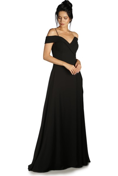 Carmen Siyah Düşük Omuzlu Uzun Abiye Elbise