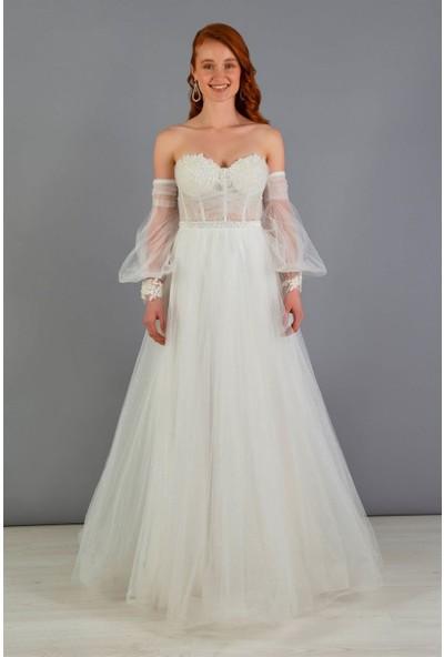 Carmen Ekru Tüllü Düşük Kol Nişanlık Abiye Elbise