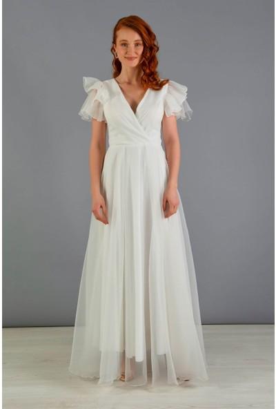 Carmen Ekru Organze Uzun Nikah Abiye Elbisesi