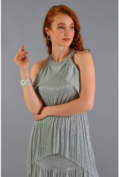 Carmen Gri Simli Aller Omuzlu Kısa Abiye Elbise