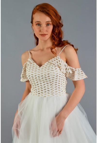 Carmen Ekru Jakarlı Kalp Yaka Kısa Abiye Elbise
