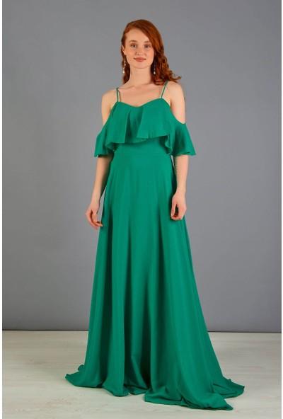 Carmen Yeşil Askılı Uzun Nikah Dış Çekim Elbisesi