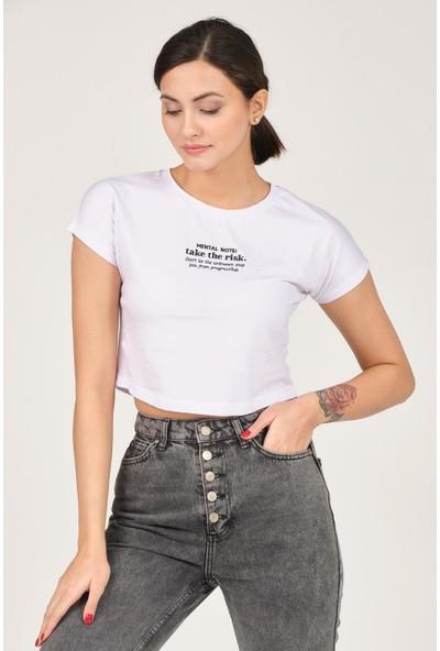 Tena Kadın Beyaz Mental Note Nakışlı Tişört