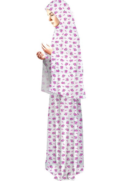 Liyavera Baskılı Pamuklu Penye Bayan Namaz Elbisesi