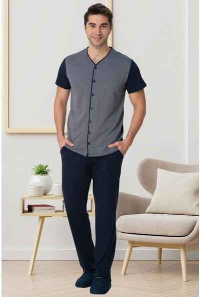 Mecit 2775 Boydan Düğmeli Erkek Yazlık Pijama Takım