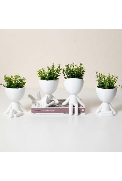 Xyz Saksı Insansı Saksılar Beyaz Beşli Set Yapay Çiçekli