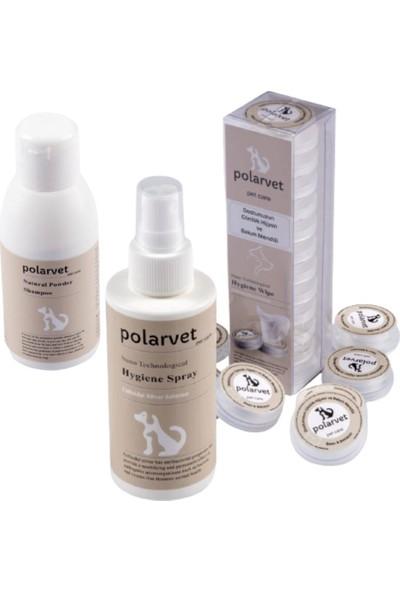 Polarvet Kedi Köpek Banyo ve Temizleme Seti Toz Şampuan + Hijyen Sprey + Mendil