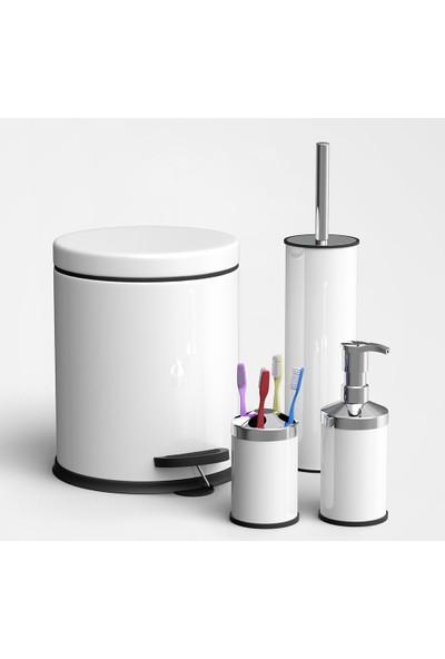 Sas 3l Banyo Seti Çöp Kovası Klozet Fırçası Diş Fırçalık Sabunluk