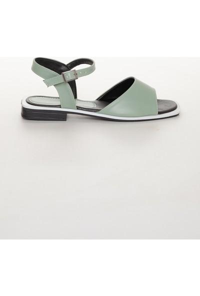 Zulu Kadın Su Yeşili Arkası Açık Kısa Topuklu Ayakkabı Sandalet