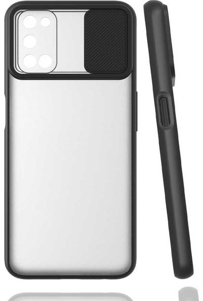 Smcase Oppo A72 Kılıf Kamera Sürgülü Kapatmalı Silikon Siyah