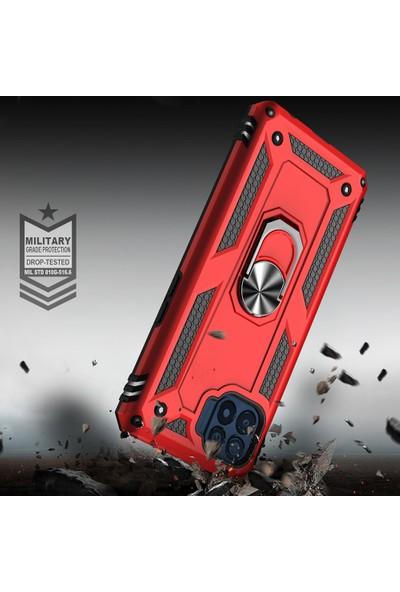 Kny Oppo Reno 4 Lite Kılıf Ultra Korumalı Yüzüklü Manyetik Vega Kapak+Cam Ekran Koruyucu