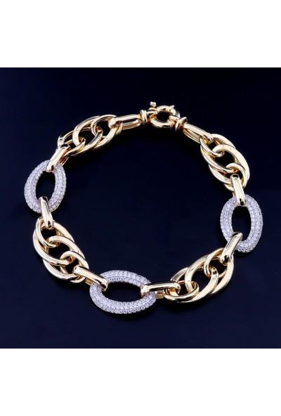 Pigado Altın Kaplama Hallow Zincir Gümüş Bayan Bileklik