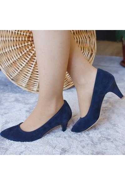 Ventes Kadın Lacivert Süet Topuklu Ayakkabı
