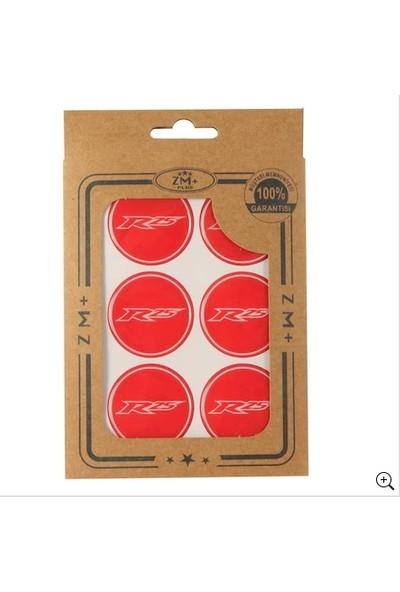 Fatih Moto Yamaha Yzf R25 Koruma Takozu Damla Etiket Sticker Ø39 mm Kırmızı-Beyaz Renk